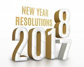New Year Resolution 2017 Marble And Gold Texture Number Change To 2018 New Year In White Studio Room poster