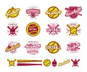 Set Of Baseball And Softball Badges poster