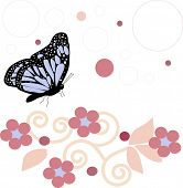 stock photo of butterfly flowers  - butterfly with flowers - JPG