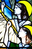 stained glass church window - angels