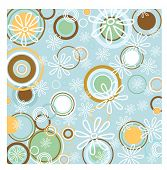 funky spring background with circles and petals vector