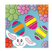 picture of easter eggs bunny  - bunny eggs and flowers - JPG