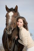 foto of horse-riders  - portrait of girl and horse - JPG