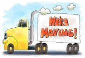 picture of moving van  - Moving truck with moving announcement on the trailer - JPG