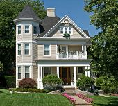stock photo of manicured lawn  - Old Victorian House - JPG