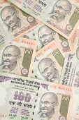 picture of mahatma gandhi  - Indian rupee notes spread in a pattern - JPG
