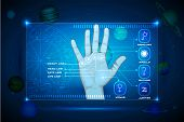 stock photo of palmistry  - illustration of palm on touch screen indicating palmistry line - JPG