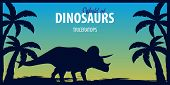 Poster World Of Dinosaurs. Prehistoric World. Triceratops. Cretaceous Period. poster