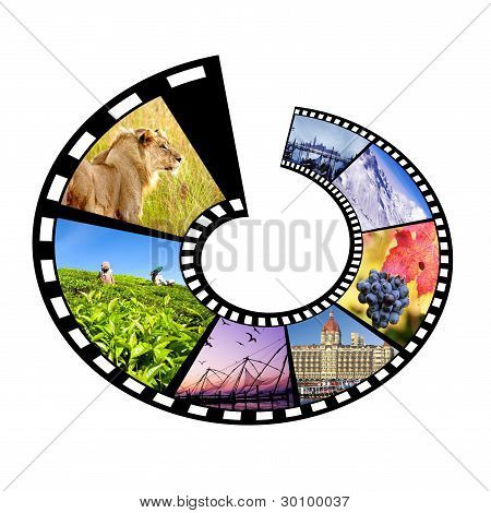Circular Film Strip Travel Concept.