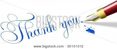 Red fountain pen writes Thank You note words in blue ink