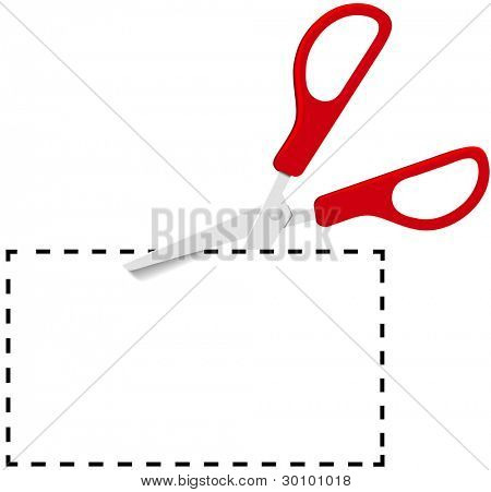 Pair of red utility scissors cut out coupon copy space on dotted line