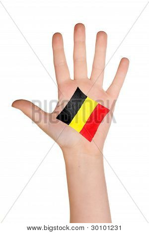 The Belgian flag painted on the palm.