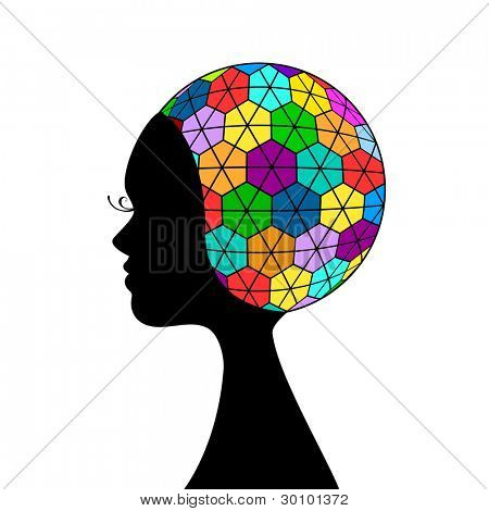Funky woman profile - intelligence concept (full circle)