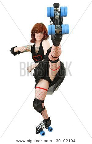 Roller Derby Girl Kicking