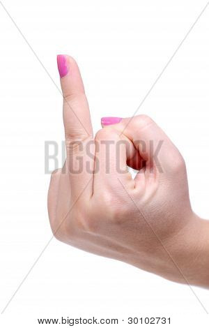 Female Hand With Middle Finger Up