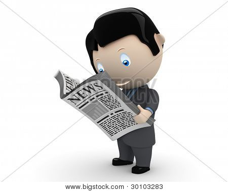 Hot news! Social 3D characters: businessman in suit reading newspaper. New constantly growing collection of expressive unique multiuse people images. Concept for news illustration. Isolated.