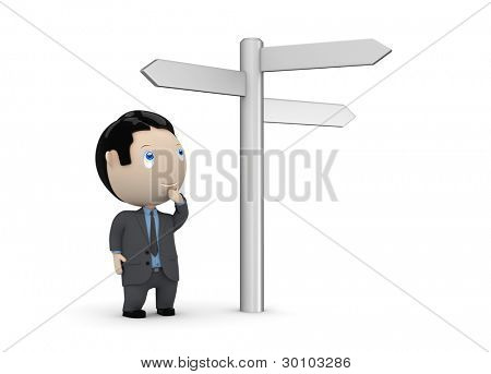 Make your choice! Social 3D characters: businessman looking at crossroads blank plates sign. New constantly growing collection of multiuse images. Concept for making decision illustration. Isolated.