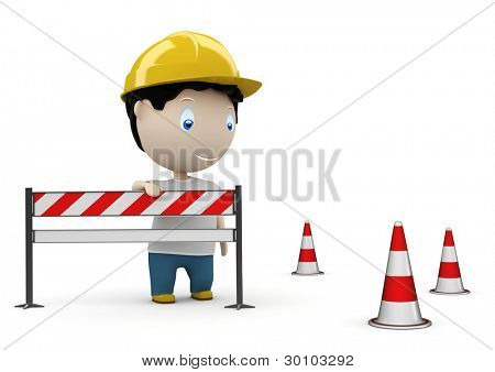Web site under construction! Social 3D characters: man on road by the barrier and under construction cones. New constantly growing collection. Concept for under construction illustration. Isolated.