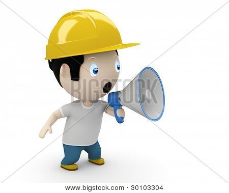 Announcement! Social 3D characters: man shouting into megaphone making loud noise. New constantly growing collection of multiuse people images. Concept for warning / caution illustration. Isolated.