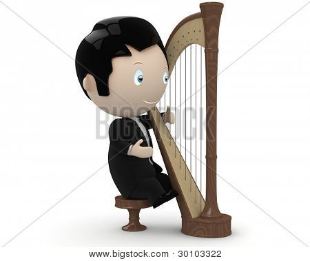 Musician at play! Social 3D characters: young man wearing tailcoat plays harp. New constantly growing collection of multiuse people images. Concept for arts and entertainment illustration. Isolated.