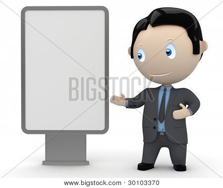 Place your text / logo / product on a blank citylight copyspace. Social 3D characters: businessman in suit  pointing at the blank rectangular space. Concept for multiuse illustration.