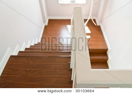 Wooden Stairs With Hand Rail
