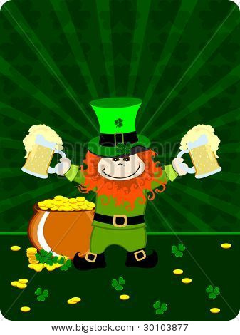 Vector illustration of a greeting card with leprechaun having beer mugs and gold coin's cauldron for St. Patrick's Day