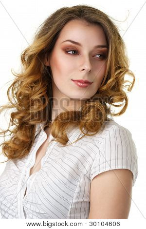 Attractive Smiling Woman With Long Hair