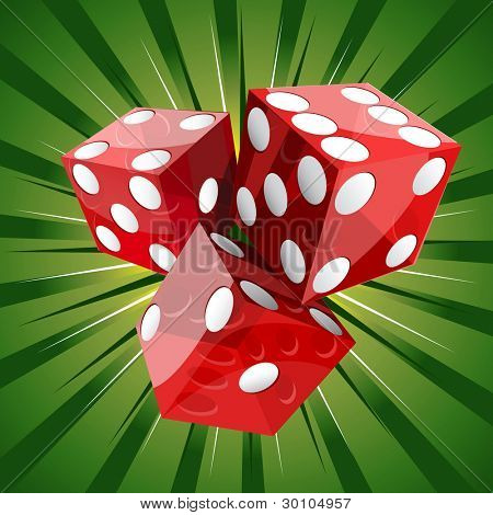 Casino craps red dice on green background.