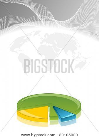 Business  wave background with pie chart.