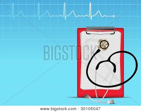 Medical background with heart graph, stethoscope and diagnostic letter on blue. Vector illustration.