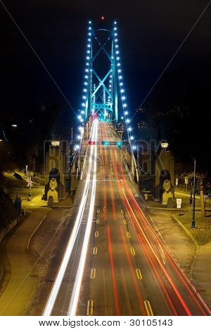 Light Trails On Lions Gate Bridge At Night