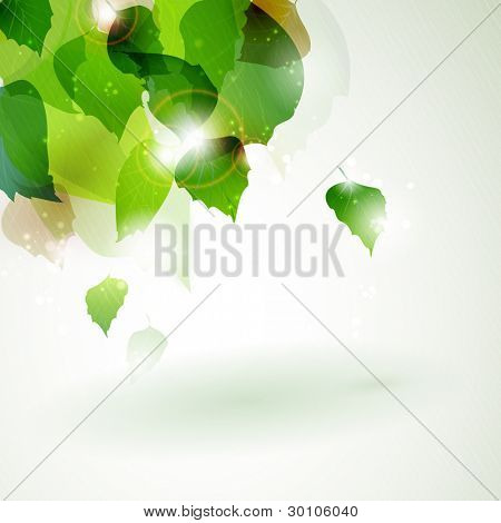 Abstract green foliage vector background with space for your message. Overlying leaves with sun light breaking trough in the upper left corner of the background. EPS10