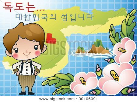 Korean Words : 'Dokdo... is Korean island' - with cute smiling young boy
