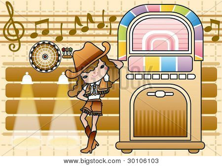 Cute Smiling Young Woman with Juke Box on a background brown pattern