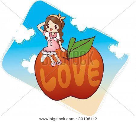 hübsch lächelnd mädchen mit süßen roten Apfel vor dem Hintergrund der blaue Himmel