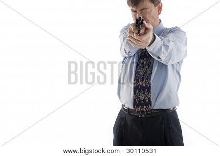 Businessman Aiming Pistol