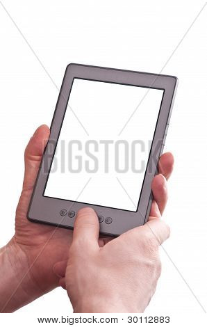 Two Hands Are Holding A Ebook Reader