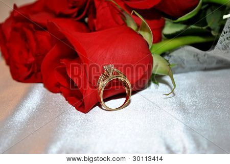 Roses with Engagement Ring