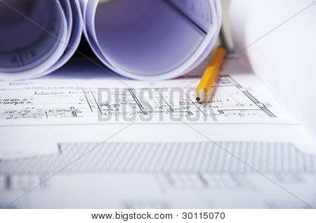 pencil, documents and blueprint