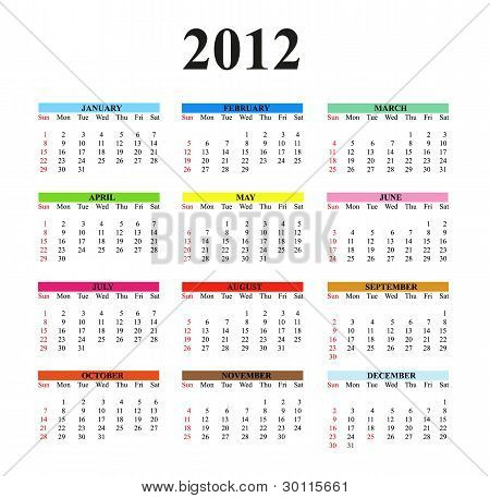 2012 Clear Simple Calendar