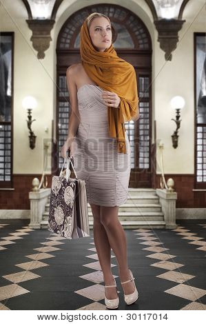 Elegant Fashion Woman With Shopping Bag