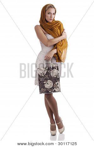 Elegant Fashion Girl With Flower Shopping Bag