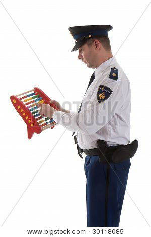 Dutch Police Officer Is Counting With Abacus Over White Background
