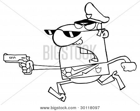 Outlined Male Police Officer Running With A Gun