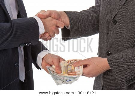 Two Businessmen And Paying Money
