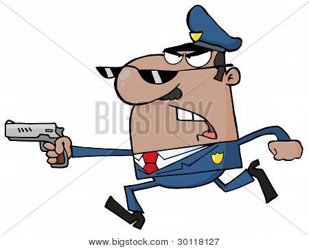 Male Black Police Officer Running With A Gun