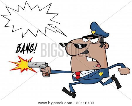 Male African American Police Officer Running With A Gun