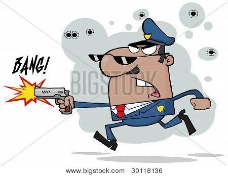 Male Black Police Officer Shooting A Gun