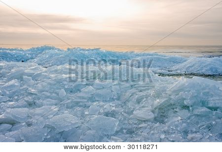 Ice Hummocks By Sunset In The Netherlands